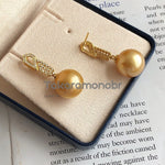 Load image into Gallery viewer, Luxury Collection 13.0-14.0 mm Golden South Sea Pearl & Diamond Earrings for Women - takaramonobr