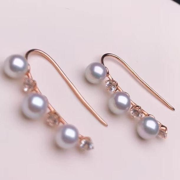 Multiple Pearls Series 4.0-4.5 mm Mini Silver Blue Akoya Pearl & White Corundum in 18K Yellow Gold for Woman - takaramonobr