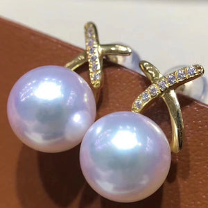X Collection 8.5-9.0 mm Akoya Pearl & Diamond Stud  Earrings Mounted on 18K Yellow Gold