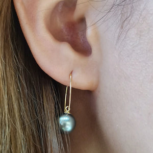 Hook Collection 8.0-9.0 mm Black Tahitian Pearl Dangle Earrings - takaramonobr