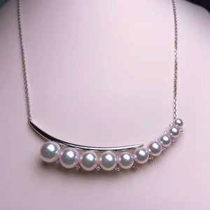 Crescent Moon Collection 4.0-8.5 mm Japanese White Akoya Pearl & Diamond Pendant - takaramonobr