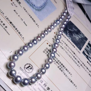 10.0-10.5 mm Natural-Color Japanese Blue Akoya Pearl Necklace for Jewelry Collection - takaramonobr
