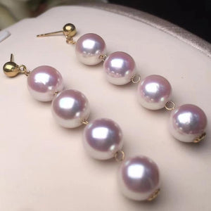 Multiple Pearls Series 8.0-8.5mm White Akoya Dangle Earrings in 18K Gold - takaramonobr