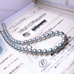 Load image into Gallery viewer, 8.5-9.0 mm Natural-Color Baroque Blue Rose Akoya Pearl Necklace with PSL Certificate - takaramonobr
