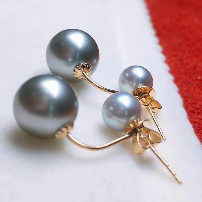Double Pearls Series 8.0-9.0 mm Tahitian Grey Pearl Stud Earrings in 18K Gold - takaramonobr