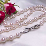 "Load image into Gallery viewer, 24"" Matinee Length Japanese AA+ White Akoya Pearl Necklace - takaramonobr"