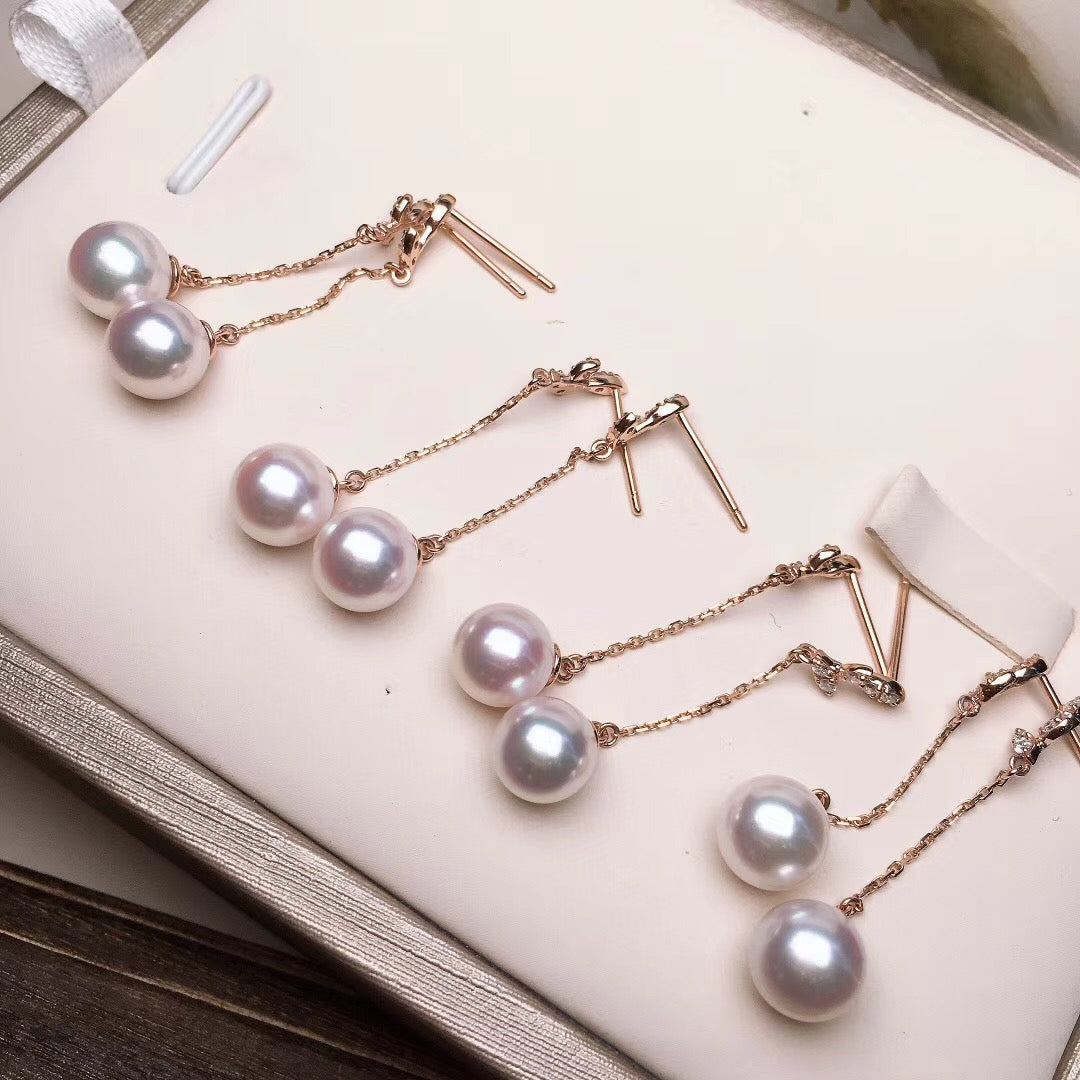 Twig Collection 7.5-8.0 mm White Akoya Pearl & Diamond Dangle Earrings for Woman - takaramonobr