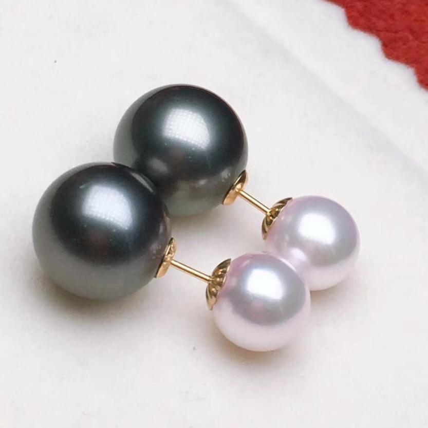 Double Pearls Series 11.0-12.0 mm AAA Tahitian & Akoya Pearl  Mounted on Solid 18-Karat Yellow Gold - takaramonobr