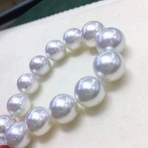 "10.0-13.0 mm Genuine White South Sea Cultured Pearl Necklace in 16"" Choker Length for Women - takaramonobr"
