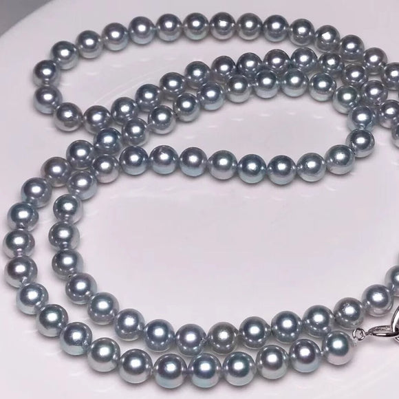 8.0-8.5 mm Japanese Akoya Gery Pearls Necklace whole length