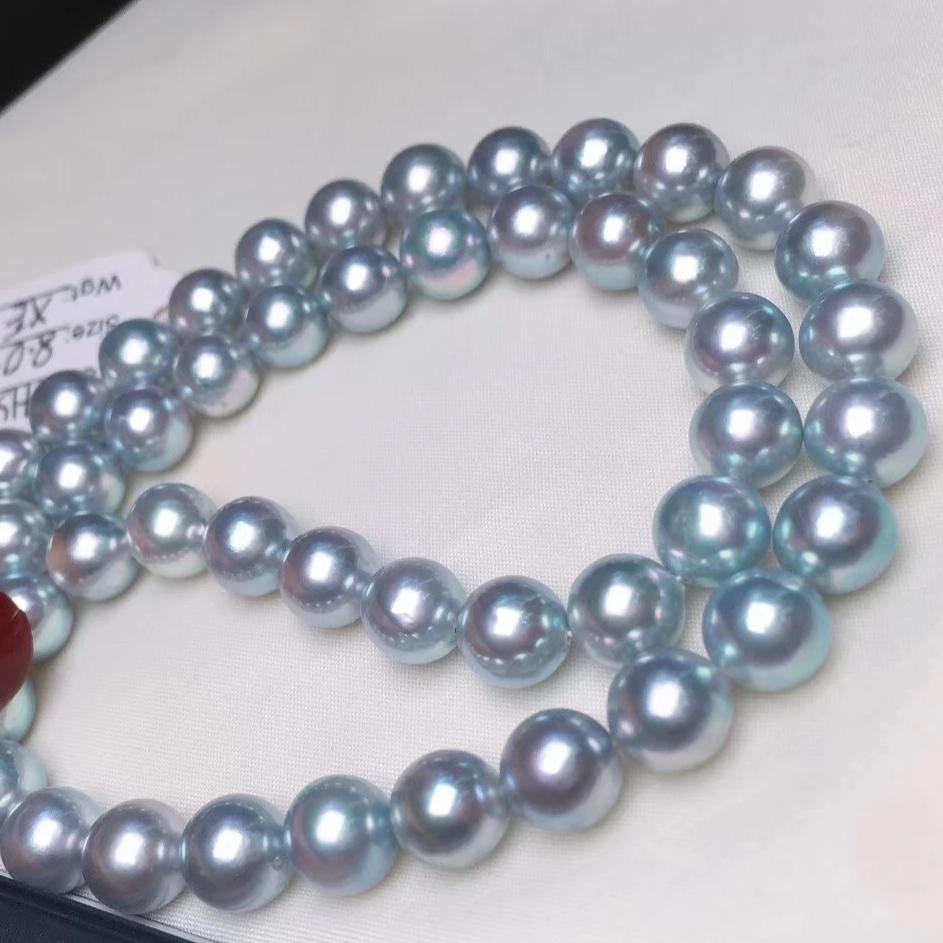 8.0-8.5 mm Natural-Color Japanese Blue Akoya Pearl Necklace with PSL Certificate - takaramonobr
