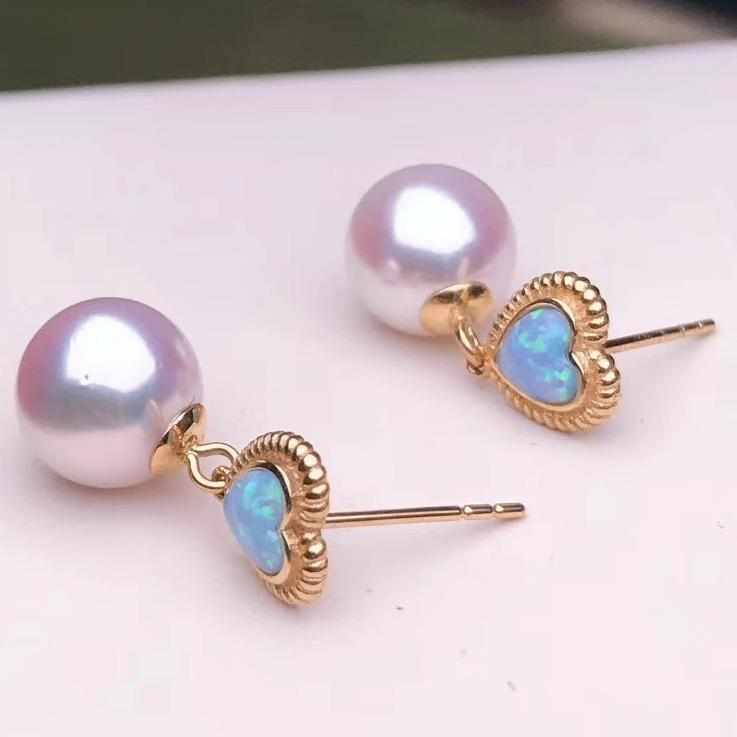 Heart Collection 8.0-8.5 mm White Akoya Pearl & Opal Dangle Earrings - takaramonobr