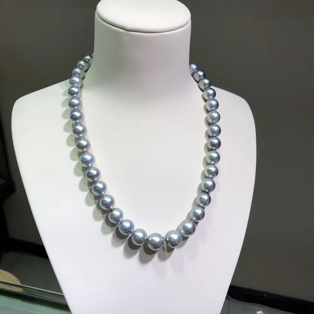 16-Inches 10.0-12.0 mm AAA+ Round Tahitian Gray Pearl Necklace - takaramonobr