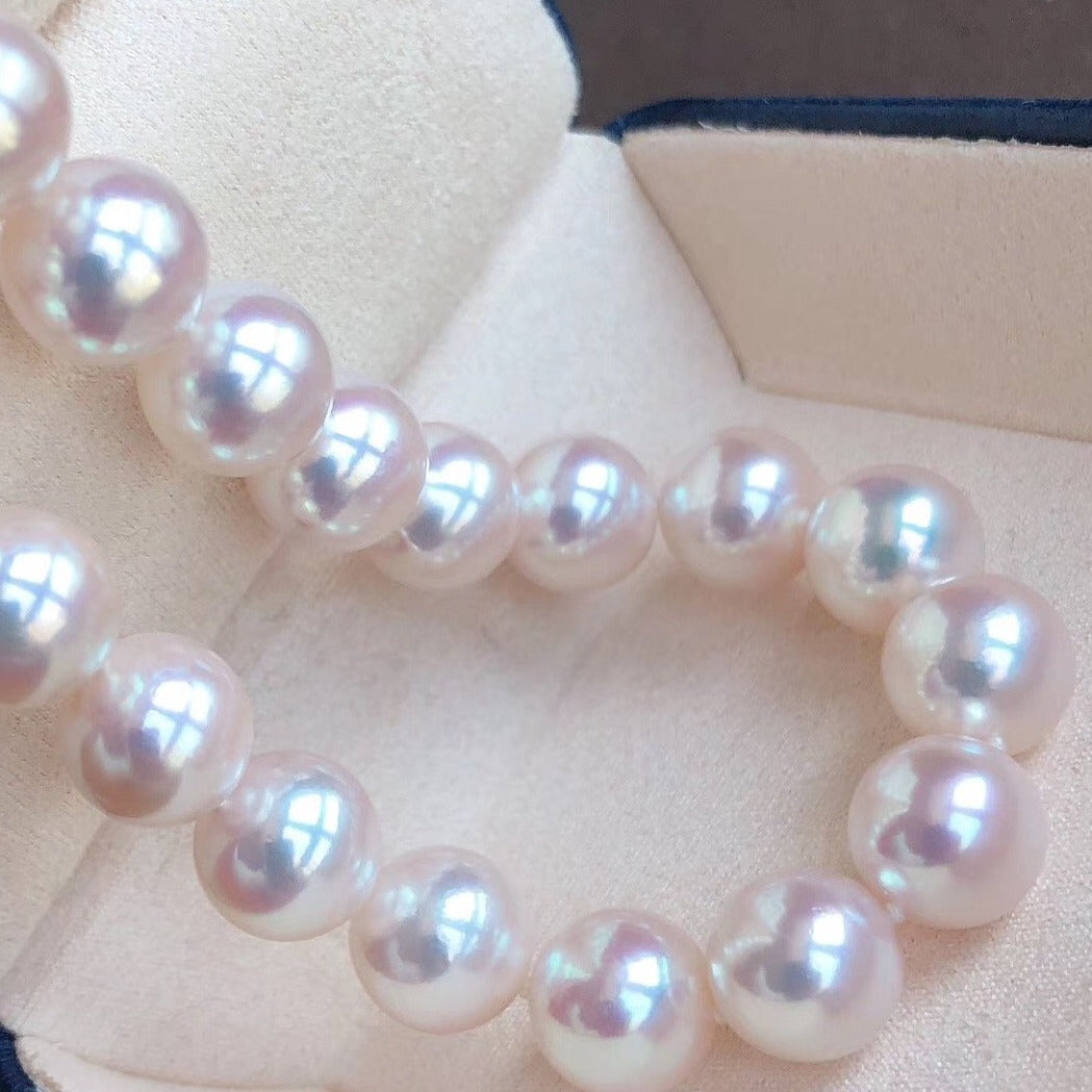 8.5-9.0 mm Top Range White Aurora Hanadama Japanese Akoya Pearl Necklace - takaramonobr