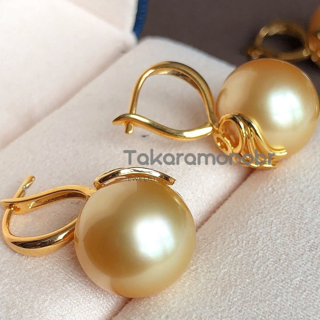 13.0-14.0 mm Golden South Sea Pearl Earrings Mounted on G18K for Women - takaramonobr