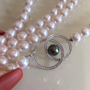 The Marvelous 35 Inches AAA+ Japanese 8.5-9.0 mm White Akoya Pearl Necklace Rope - takaramonobr