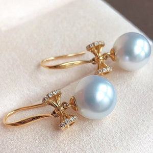 Bowknot Collection 9.0-10.0 mm White South Sea Pearl & Diamond Dangle Earrings for Woman - takaramonobr