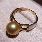 Load image into Gallery viewer, Prim Collection 9.0-10.0 mm Deep Golden South Sea Pearl Ring - takaramonobr