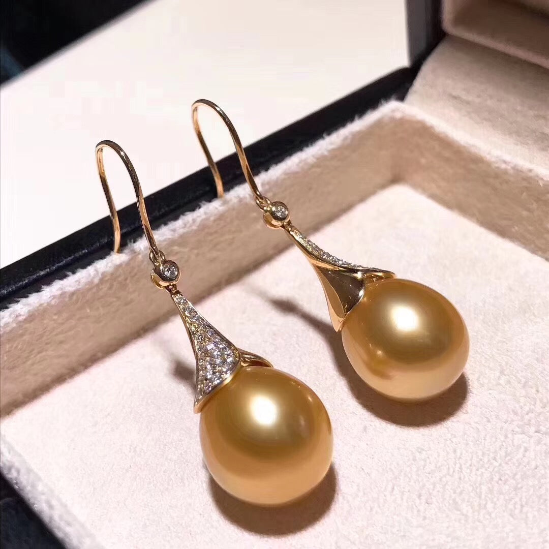 Eternal Collection Drop Golden South Sea 12.0-13.0 mm Pearl and Diamond Earrings - takaramonobr