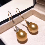 Load image into Gallery viewer, Eternal Collection Drop Golden South Sea 12.0-13.0 mm Pearl and Diamond Earrings - takaramonobr