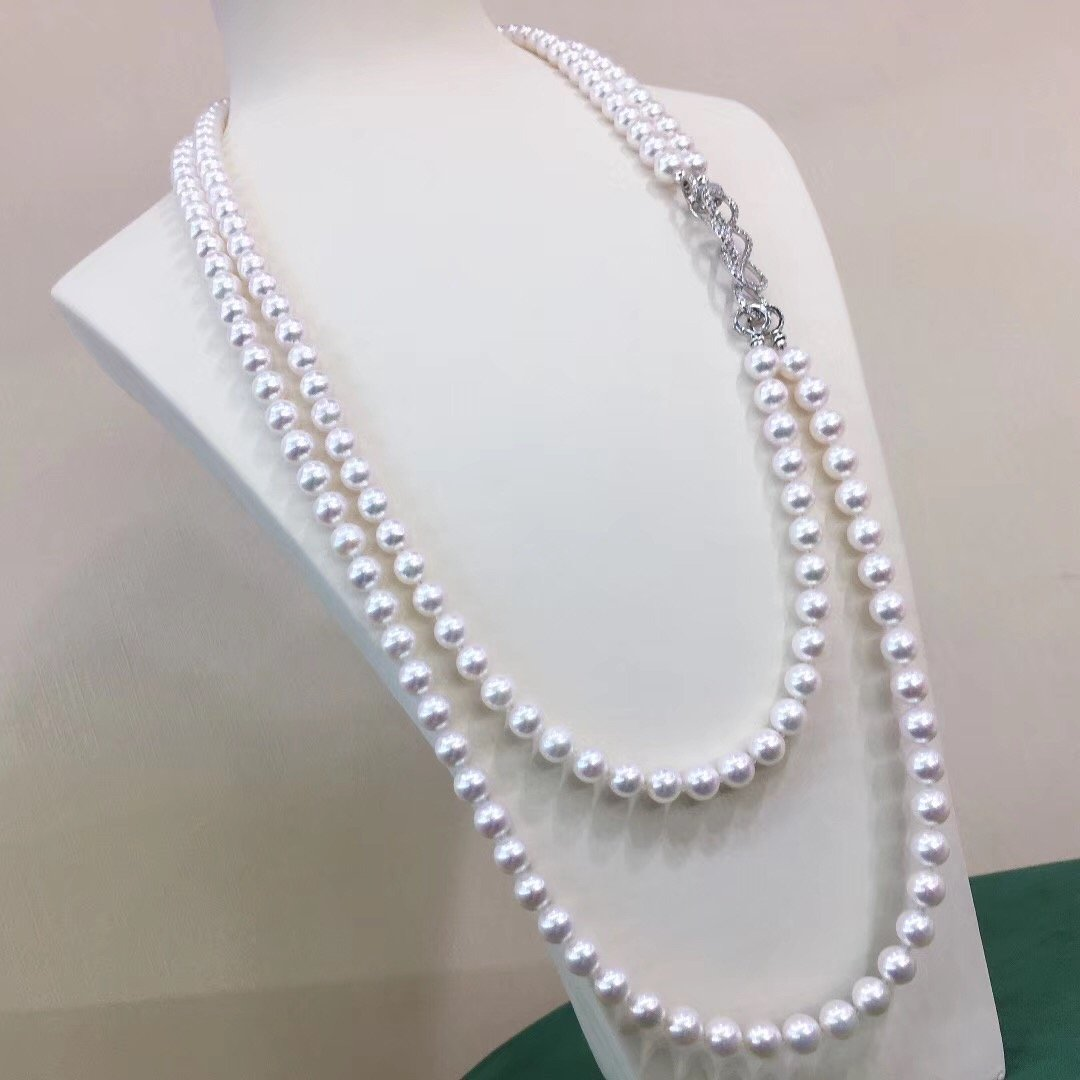 56 Inches AAA+ White Akoya Double Pearl Strands with Diamond Solid 14-Karat Gold Clasp - takaramonobr