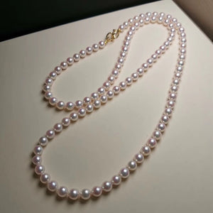 7.0-7.5 mm 32 Inches AAA White Akoya Pearl Necklace with Solid 14-Karat Gold Clasp - takaramonobr