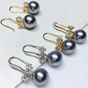 Bowknot Collection 9.0-10 mm Tahitian Grey Pearl & Diamond Dangle Earrings for Woman - takaramonobr