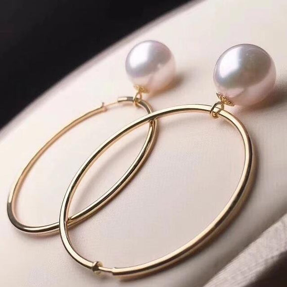 Annulus Collection 8.0-8.5 mm White Akoya Pearl Earrings in 18K Gold - takaramonobr