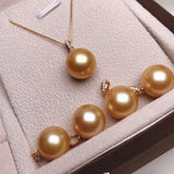 12-13 mm golden south sea pearl pendant front details
