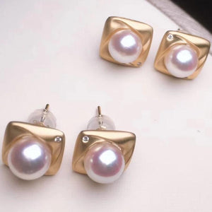 Cube Collection 7.0-7.5 mm Japanese White Akoya Pearl & Diamond Stud Earrings - takaramonobr