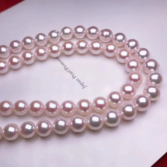 8.5-9.0 mm AAA White Akoya Pearl Necklace with Solid 14-Karat White Gold Clasp - takaramonobr