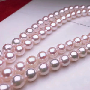 8.0-8.5 mm AAA White Akoya Pearl Necklace with Solid 14-Karat White Gold Clasp - takaramonobr