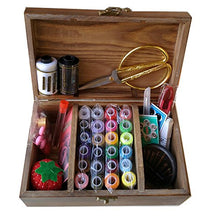 Load image into Gallery viewer, Wooden Sewing Basket with Sewing Kit Accessories, Sewing Box