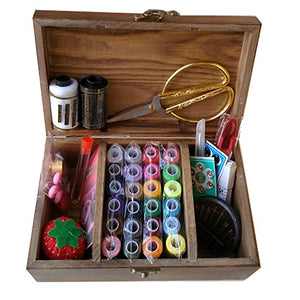 Wooden Sewing Basket with Sewing Kit Accessories, Sewing Box