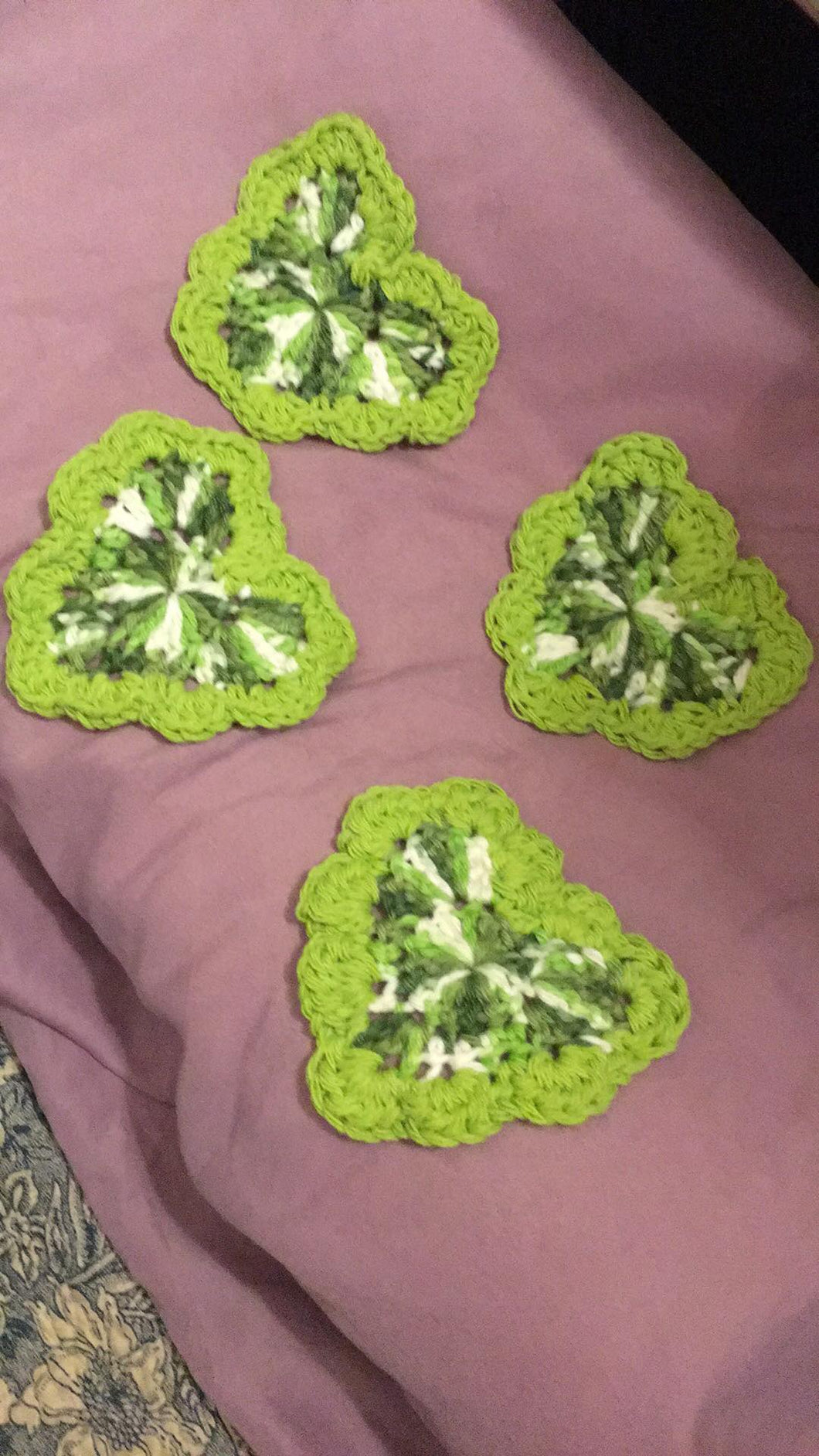 Green Variegated Heart Dishrags w/ Scallop