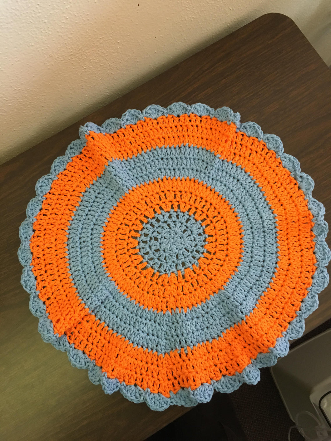 Grey and Orange Doily