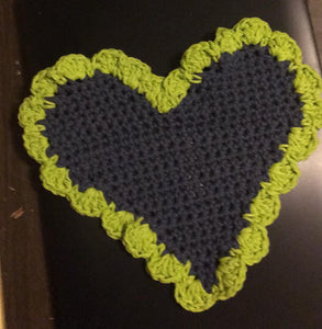 Navy and Green Heart Dishrag
