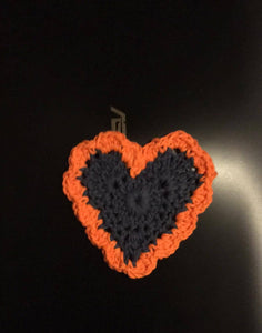 Navy & Orange Heart Coaster