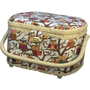 Michley Owl-Patterned Sewing Basket with 41-Piece Sewing Kit