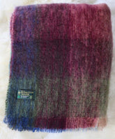 Mohair Throw  ​#502, 70% Mohair 30% Wool, Rich Wine, Raspberry & Sage Green