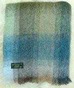 Mohair Throw  ​#510, 70% Mohair 30% Wool, Seafoam Green, Pale Blues & Neutrals
