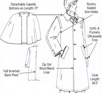 Men's Loden Coat Style M-1C, Traditional Hunting Coat w/ Capelet