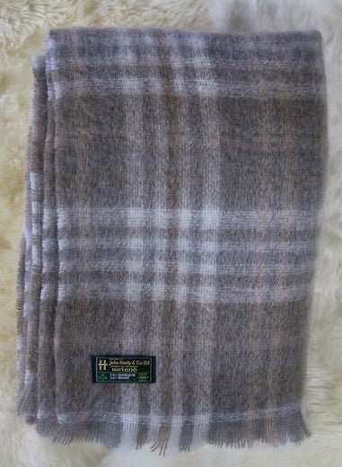 Mohair Throw #547, 70% Mohair 30% Wool, Soft Beige & Cream Glen Plaid