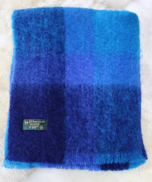Mohair Throw #503, 70% Mohair 30% Wool, Royal Blue Colorblock