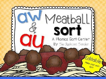 Au and Aw Meatball Sort- Editable!