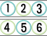 Simple Number Line Teal and Green