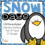 Snow Differentiated Literacy Centers for 2nd and 3rd Grade