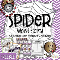 Spider Sort Verbs and Adjectives FREEBIE