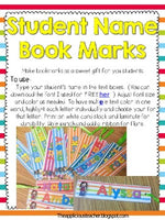 Student Name Bookmarks-Editable