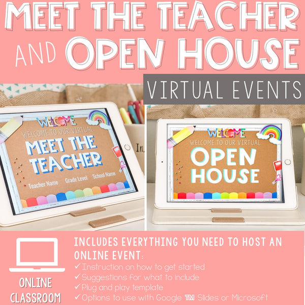 Virtual Meet the Teacher Open House Slide Show for Digital Classroom GOOGLE (TM) Slides